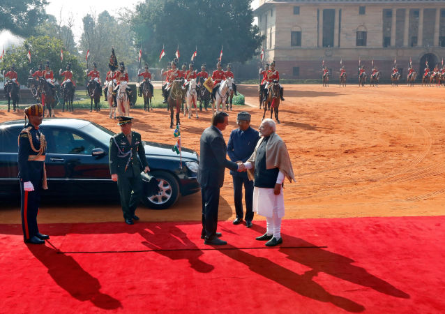 Il presidente brasiliano Jair Bolsonaro stringe la mano al primo ministro indiano Narendra Modi, 25 gennaio 2020