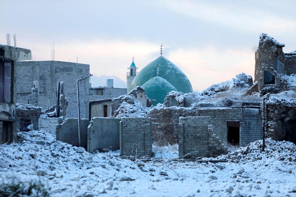 La città vecchia di Mosul innevata, Iraq