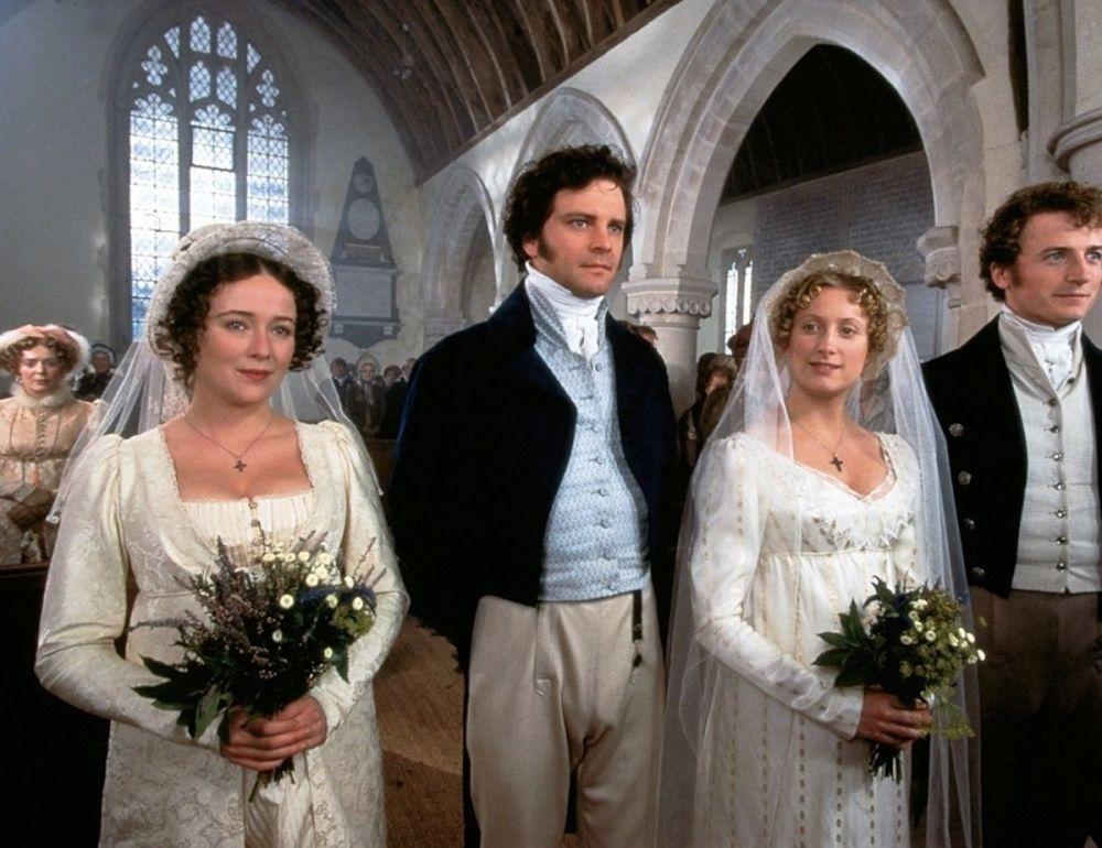 Colin Firth, Jennifer Ehle, Susannah Harker e Crispin Bonham-Carter nel film Orgoglio e pregiudizio, 1995