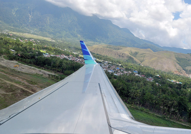 A view from a plane that is taking off of Sentani Airport, Papua