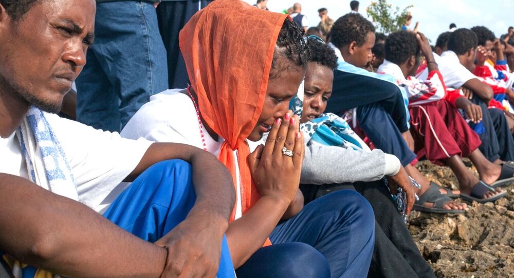 Commemoration ceremony for asylum seekers drowned trying to reach island of Lampedusa, Italy