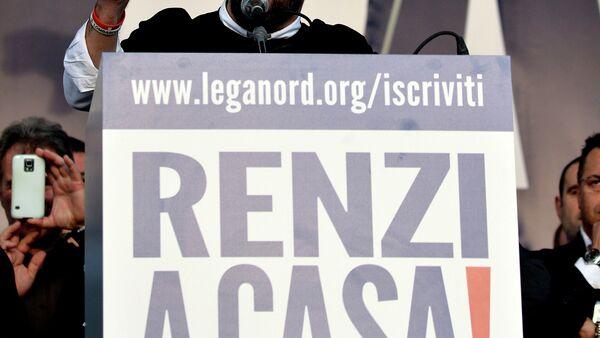 Il leader di Lega Nord Matteo Salvini durante la manifestazione contro il premier Renzi a Roma.  il 28 febbraio  2015 - Sputnik Italia