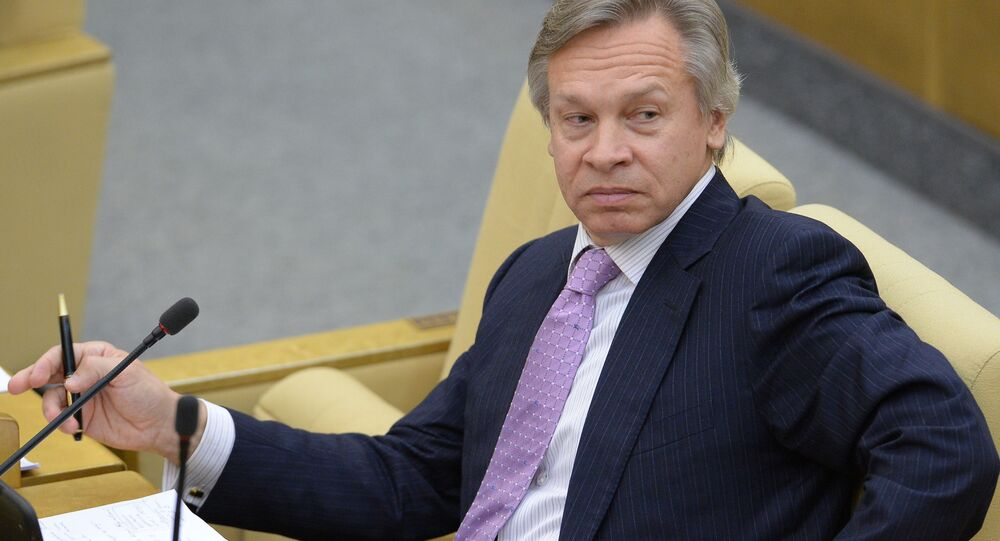 Presidente della Commissione Esteri della Duma Alexey Pushkov (foto d'archivio)