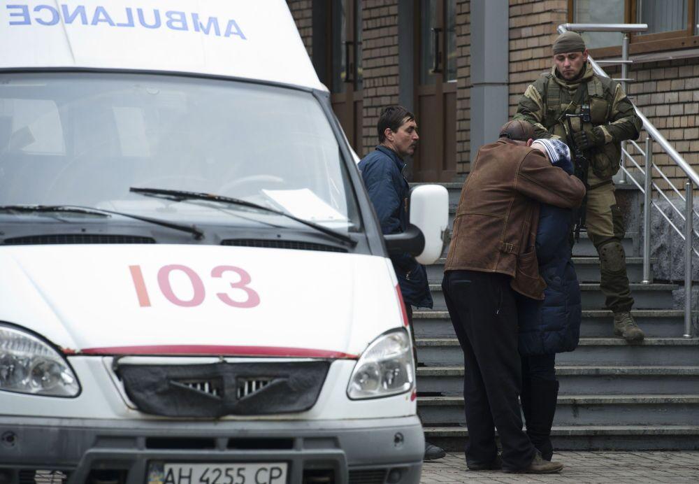 Parenti delle vittime nella miniera Zasyadko