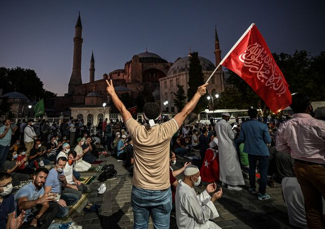 People outside the Hagia Sophia museum in Istanbul