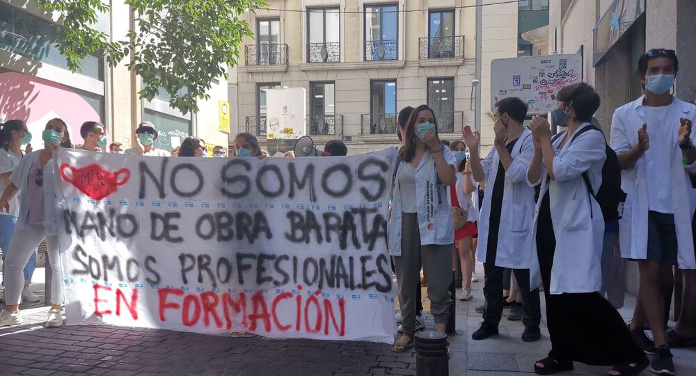 La manifestazione dei medici a Madrid