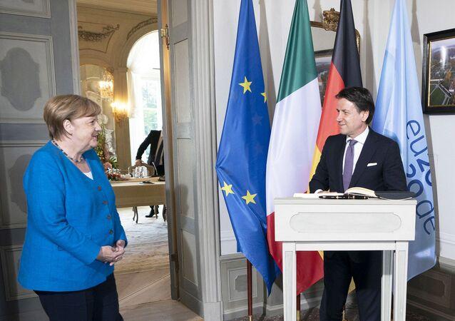 Il Presidente del Consiglio, Giuseppe Conte, incontra la Cancelliera federale della Germania, Angela Merkel.