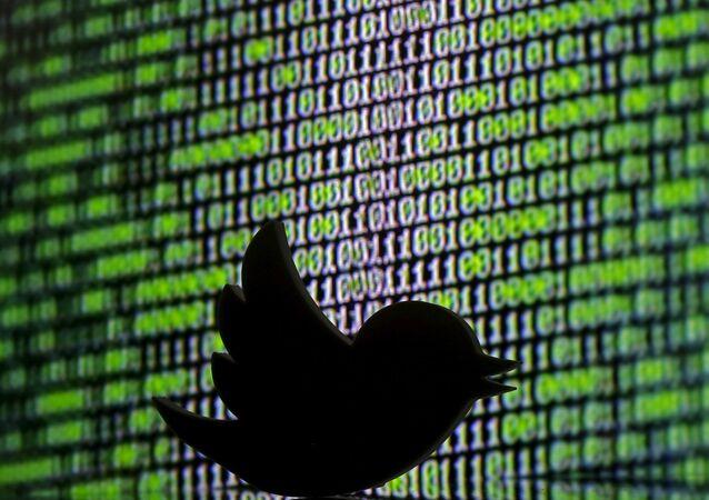 Un logo Twitter stampato in 3D davanti a un cybercode visualizzato in questa immagine scattata il 22 marzo 2016.