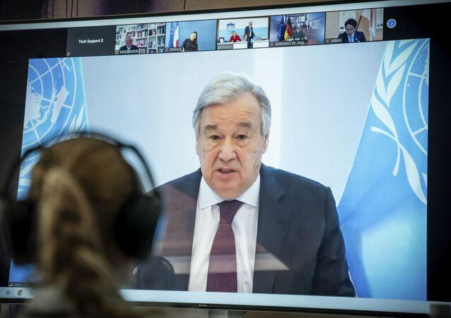 Antonio Guterres, segretario generale delle Nazioni Unite in videoconferenza il 18 aprile