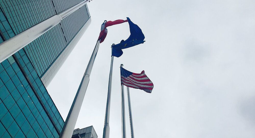 The Star-Spangled Banner waving in front of the Consulate-General of United States in Wuhan