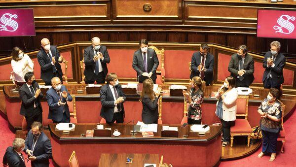 Il Presidente del Consiglio, Giuseppe Conte, in Senato per l'informativa sugli esiti del Consiglio europeo - Sputnik Italia