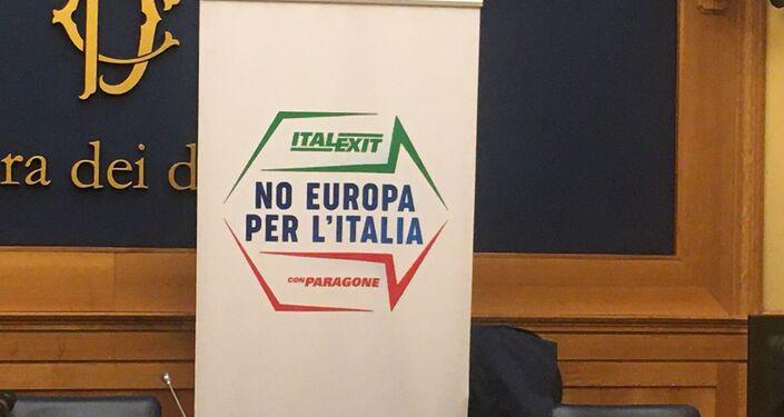 """L'ex grillino, senatore Gianluigi Paragone lancia e presenta a Roma il suo partito apertamente contrario all'Unione Europea - """"No Europa per l'Italia – Italexit con Paragone""""."""