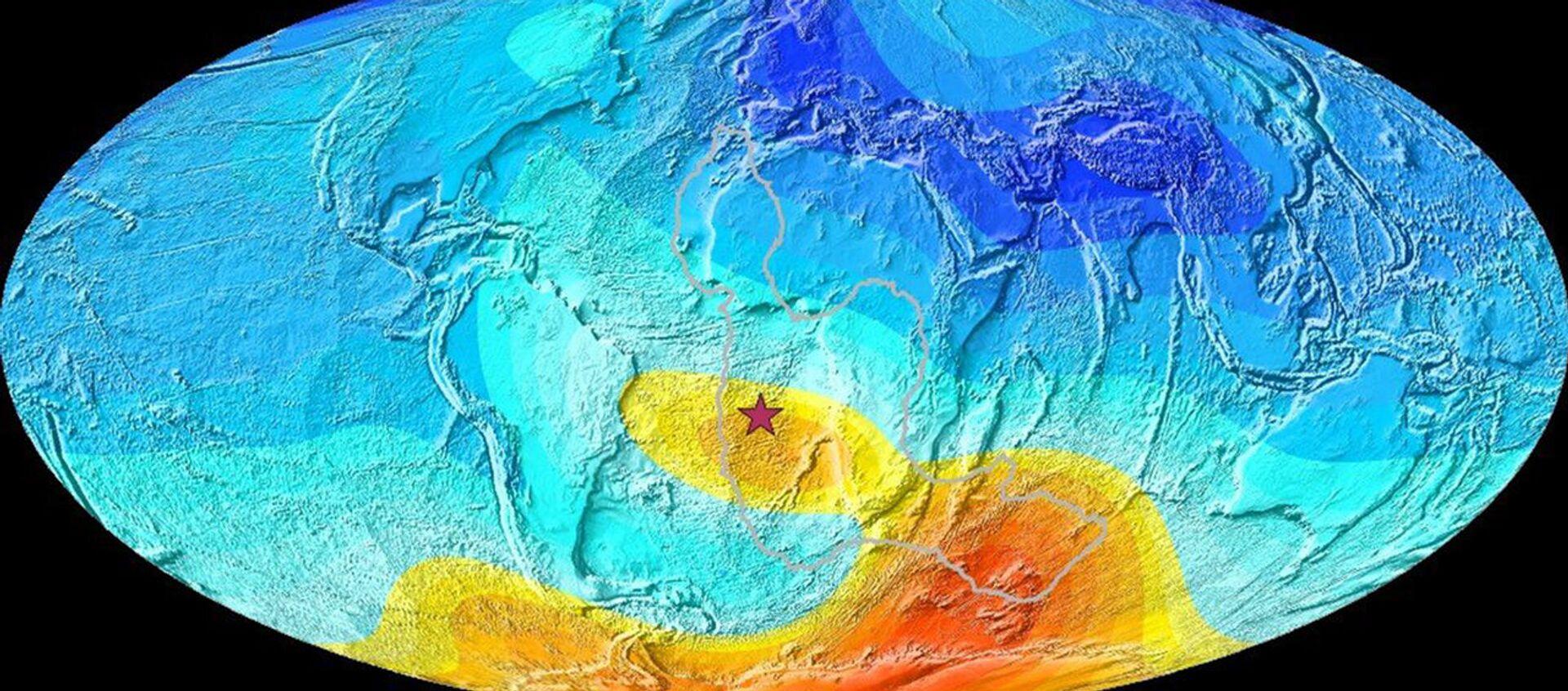 Una mappa della Terra che mostra la deviazione attuale dalla direzione prevista del polo magnetico - Sputnik Italia, 1920, 14.03.2021