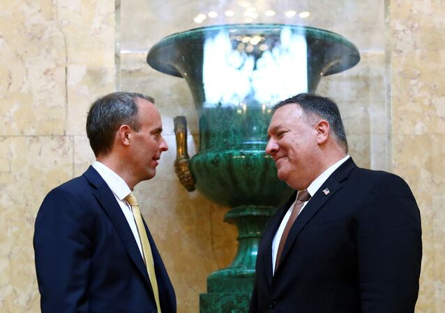 U.S. Secretary of State Mike Pompeo and Britain's Foreign Secretary Dominic Raab speak at Lancaster House in London, Britain, July 21, 2020
