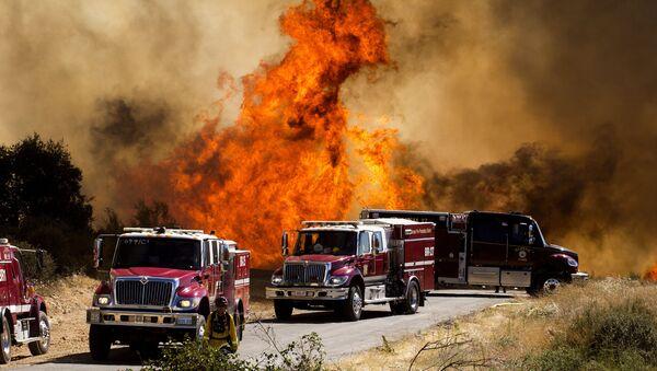 Incendio boschivo Apple nella Cherry Valley, California, Sabato primo agosto 2020 - Sputnik Italia