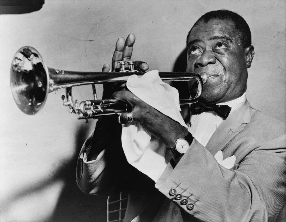 Il musicista Louis Armstrong, 1953.