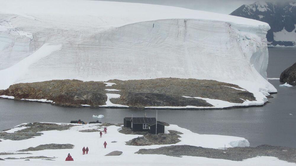 Una casa sull'isola Winter in Antrartide.