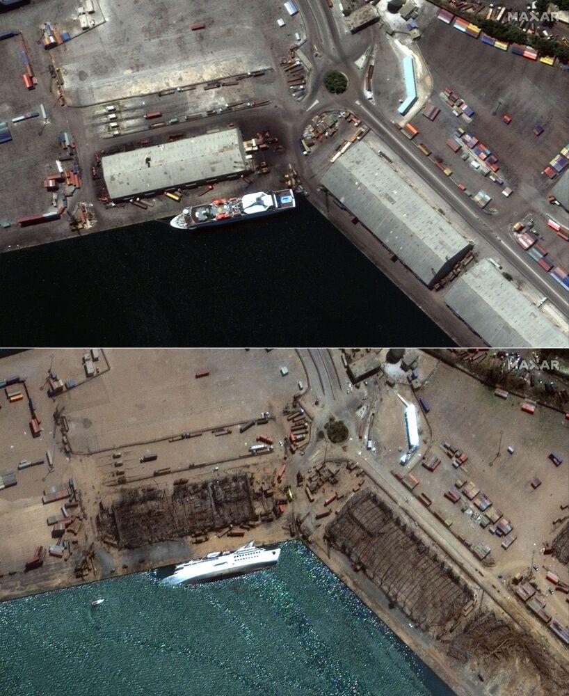 Immagini ricevute da Maxar Technologies: sopra lo scatto del porto di Beirut il 31 luglio 2020 che raffigura la nave da crociera Orient Queen prima dell'esplosione, sotto lo scatto fatto il 5 agosto dopo l'esplosione.