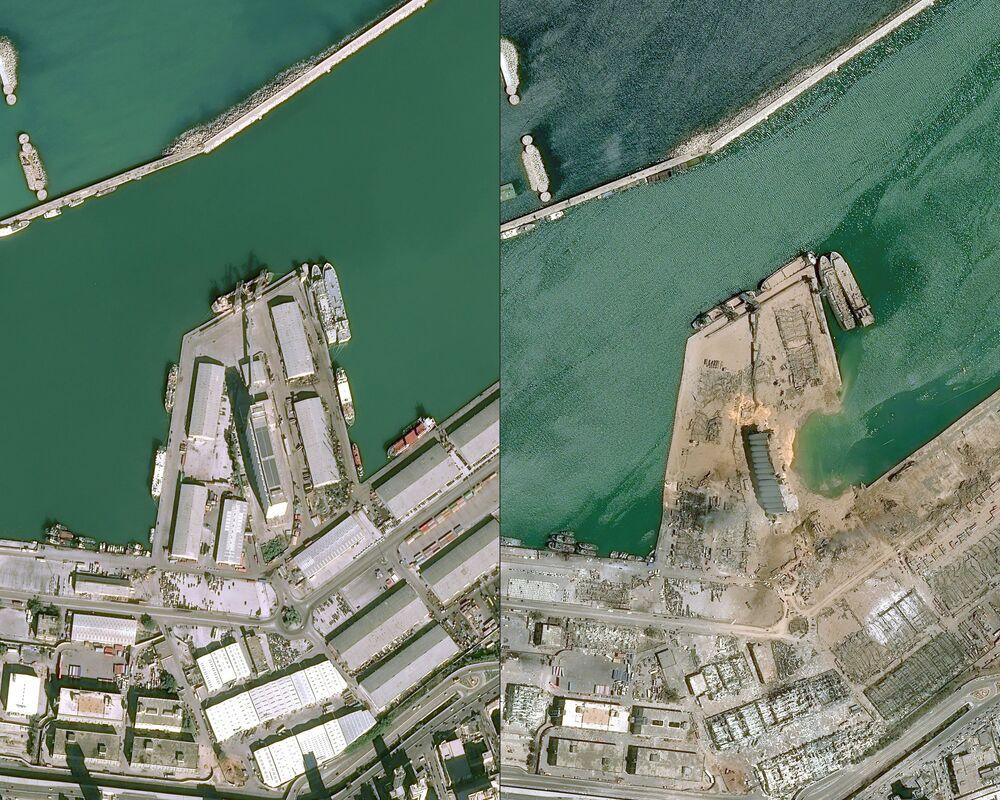 Le foto di Cnes 2020 rilasciate da Airbus DS: la vista del porto di Beirut il 25 gennaio 2020 e il 5 agosto 2020, un giorno dopo l'esplosione.