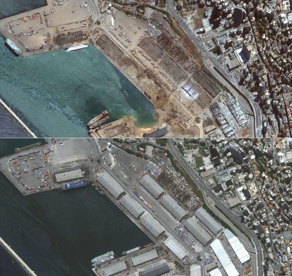 Beirut il 5 agosto dopo l'esplosione e Beirut prima dell'esplosione, il 2 giugno 2020.