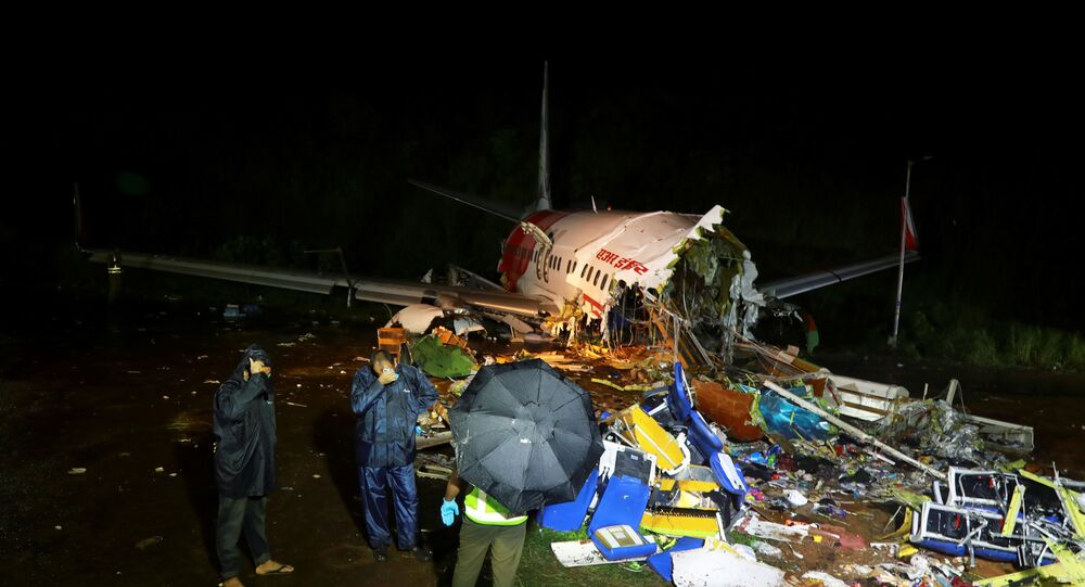 The wreckage from an Air India Express jet in Karipur, Kerala