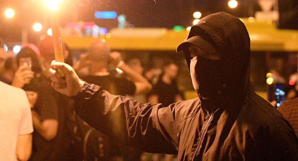I partecipanti alle proteste a Minsk.
