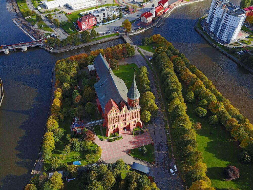 La città russa di Kaliningrad vista dall'alto.