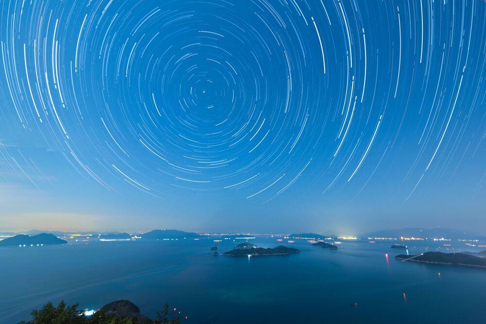 Il cielo stellare a Takamatsu, Giappone.