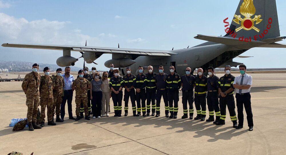 Team dei Vigili del Fuoco in missione in Libano rientrati in Italia, 12 agosto