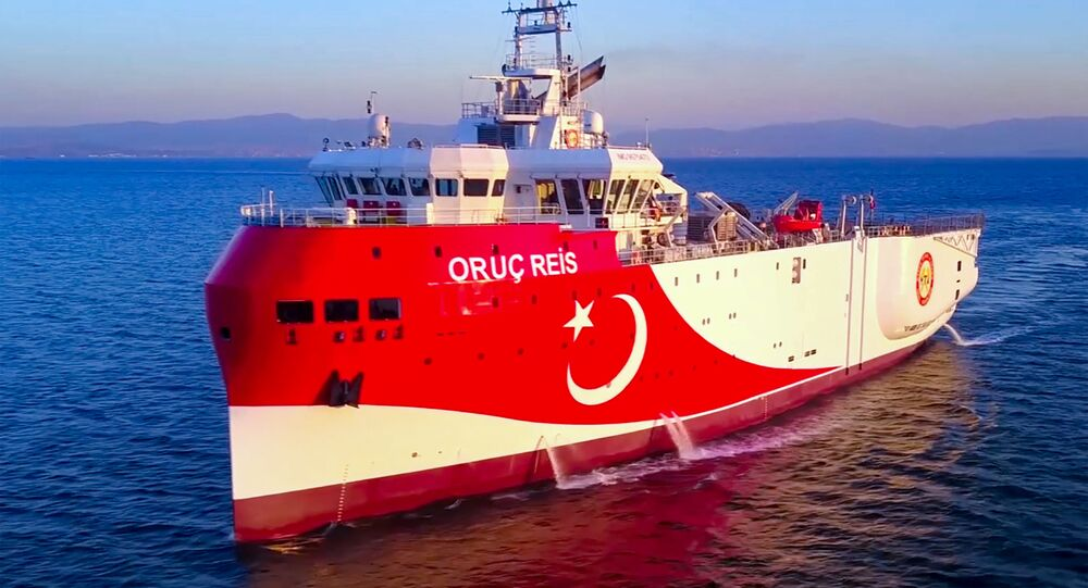 This handout photograph released by the Turkish Defence Ministry on August 12, 2020, shows Turkish seismic research vessel 'Oruc Reis' heading in the west of Antalya on the Mediterranean Sea.