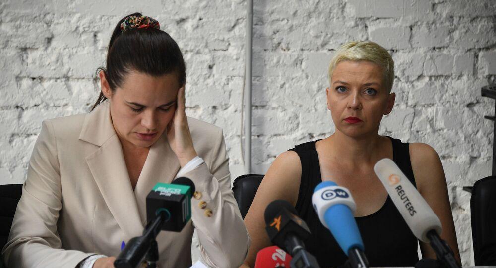 Svetlana Tikhanovskaya in una conferenza stampa a Minsk l'indomani del voto