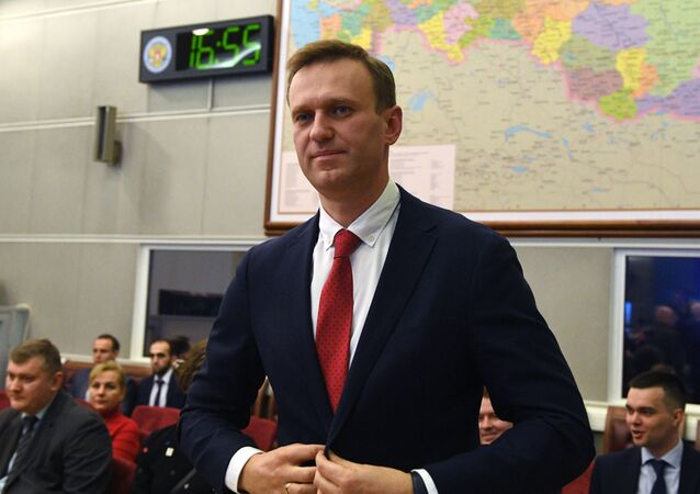 Alexei Navalny at the session of Russia's central election commission on 25 December 2017. Navalny had planned to take part in the 2018 presidential election, but the commission said he was ineligible because of a corruption conviction.