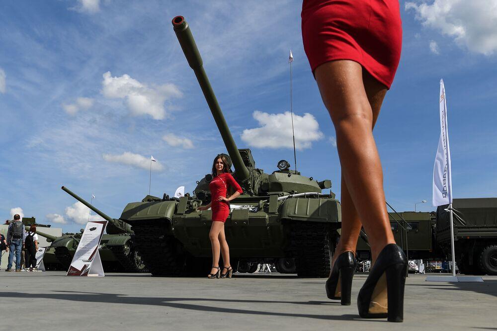 Il carro armato T55A al Forum militare e tecnico internazionale Army-2020 in Russia.