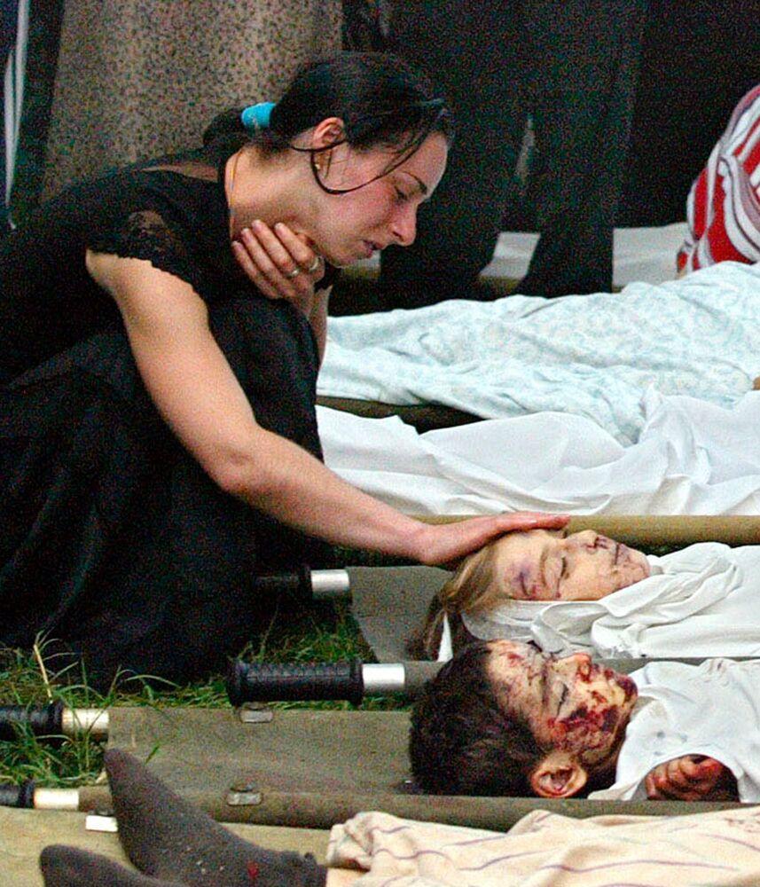 Le vittime della strage di Beslan, Russia