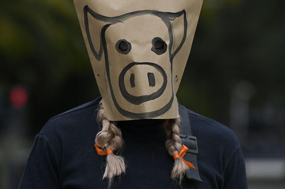 Un uomo che indossa una maschera cartacea con la faccia di un maiale disegnata sopra, prende parte ad una protesta contro l'accordo tra Argentina e Cina per produrre maiale per l'esportazione, in Plaza de Mayo a Buenos Aires il 25 agosto 2020