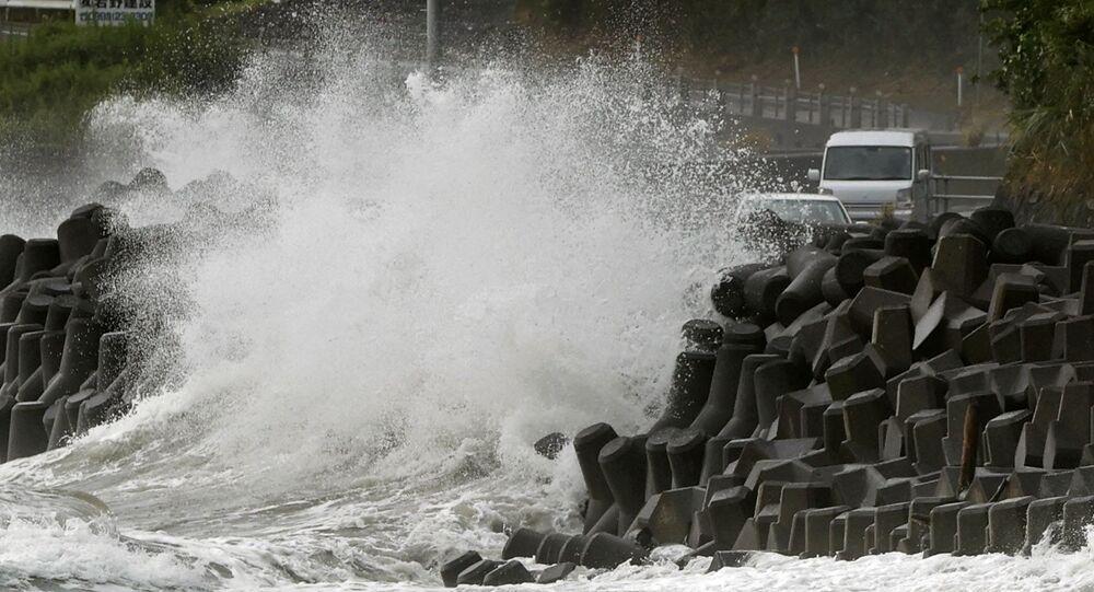 Tifone Haishen sulle coste di Kagoshima, Giappone, settembre 2020