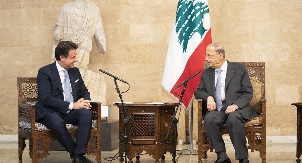 Il Presidente del Consiglio, Giuseppe Conte, con il Presidente della Repubblica Libanese, Michel Aoun, presso il Palazzo Presidenziale di Baabda.