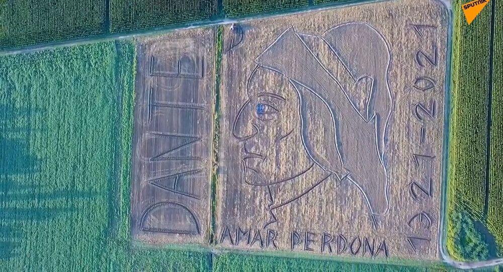 L'arte sui campi, l'omaggio dell'artista Dario Gambarin a Dante Alighieri