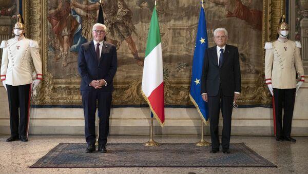 Il Presidente Sergio Mattarella e il Presidente della Repubblica Federale di Germania Frank-Walter Steinmeier a palazzo Reale - Sputnik Italia