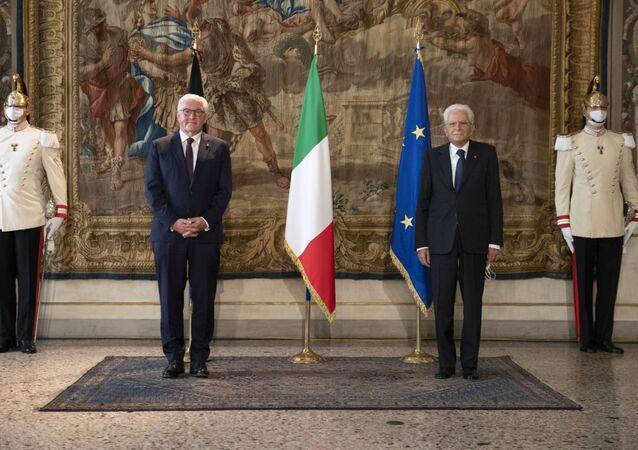 Il Presidente Sergio Mattarella e il Presidente della Repubblica Federale di Germania Frank-Walter Steinmeier a palazzo Reale