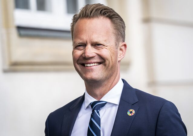 Danish Foreign Minister Jeppe Kofod arrives for a press conference in Eigtved's Warehouse in Copenhagen, on July 21, 2020, on the eve of US Secretary of State Mike Pompeo's visit to Copenhagen.
