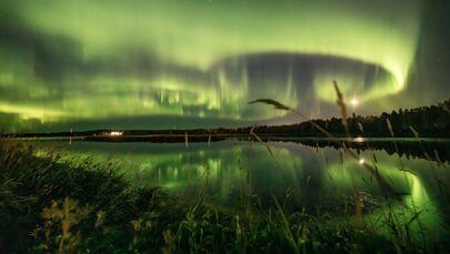 Aurora boreale nel cielo di Rovaniemi, Finlandia, il 13 settembre 2020