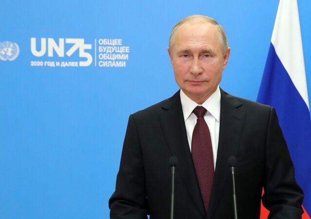Vladimir Putin durante l'Assemblea Generale dell'ONU
