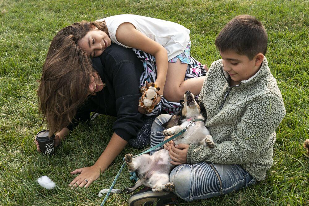I bambini giocano con il cane nel centro dell'assistenza alle vittime degli incendi