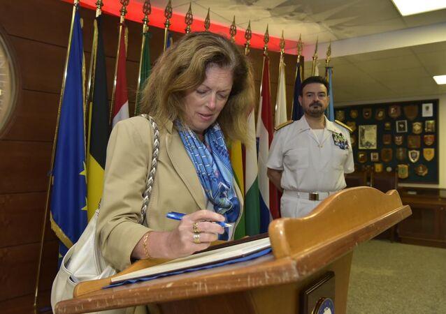 Stephanie Williams in visita al quartier generale dell'Operazione EUNAVFOR MED Irini a Roma