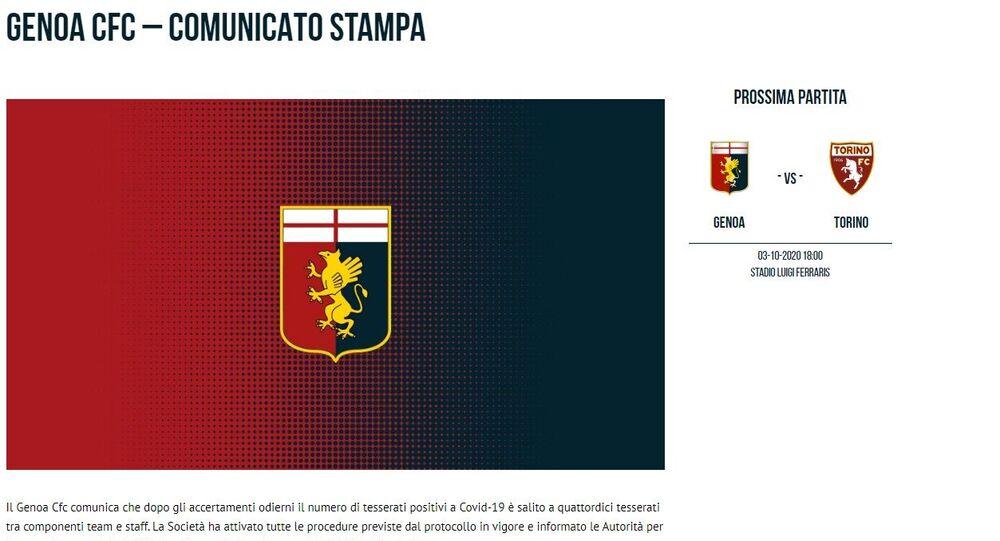 Il comunicato stampa del Genoa sulla positività al Covid di 14 tesserati
