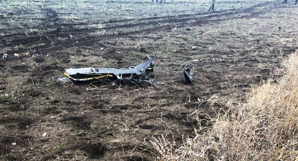 Rottami di un SU 25 armeno - foto di repertorio, scattata il dopo un'incidente in un'esercitazione militare in data 4-12-2018