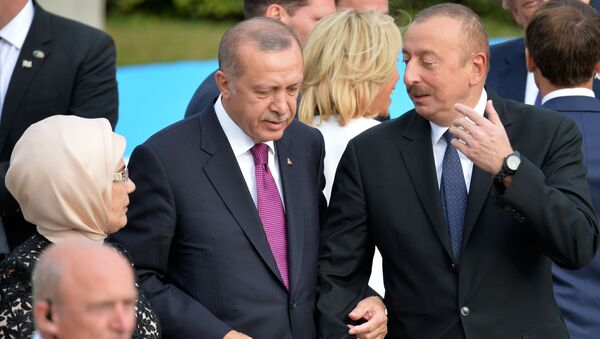 Il presidente turco Erdogan con il presidente azero Aliev al summit NATO 2018 - Sputnik Italia