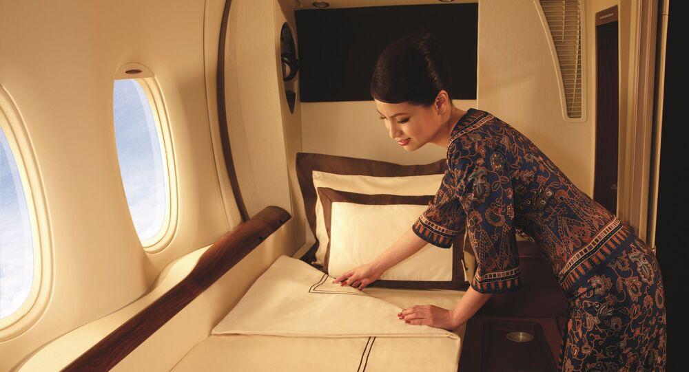 Una delle suite a bordo di un volo Singapore Airlines