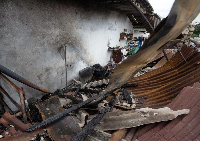 Le distruzioni dopo i bombardamenti nella zona di conflitto di Nagorno-Karabakh